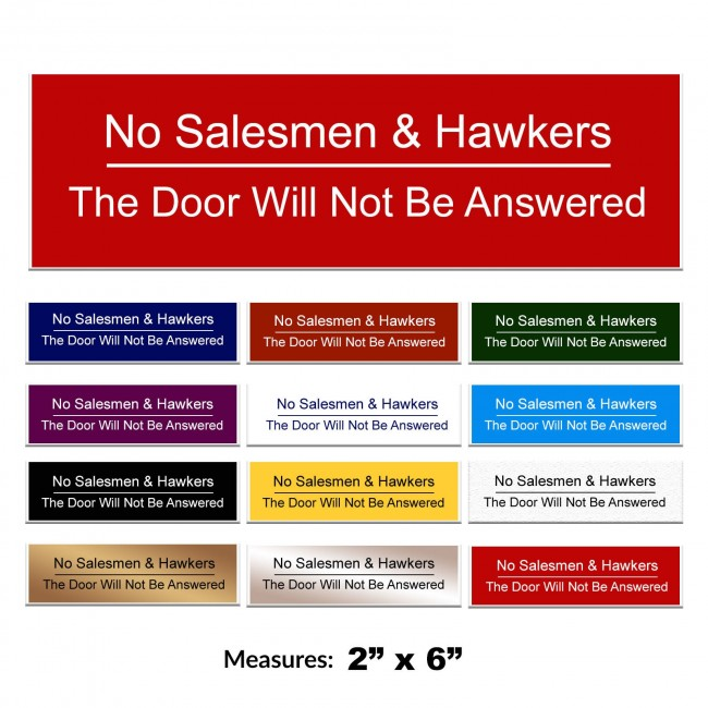 Engraved No Salesmen & Hawkers Sign 2 x 6 Inch